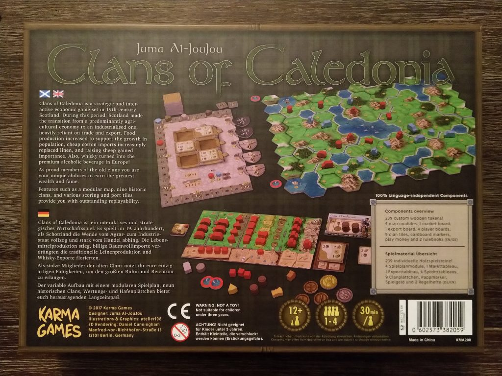 Clans of Caledonia - back of box