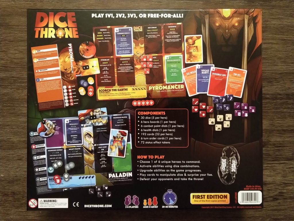 Dice Throne - back of box